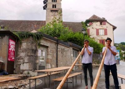 Rabus et Perret, les meilleurs cornistes du village, 1er août 2020, © Dallais